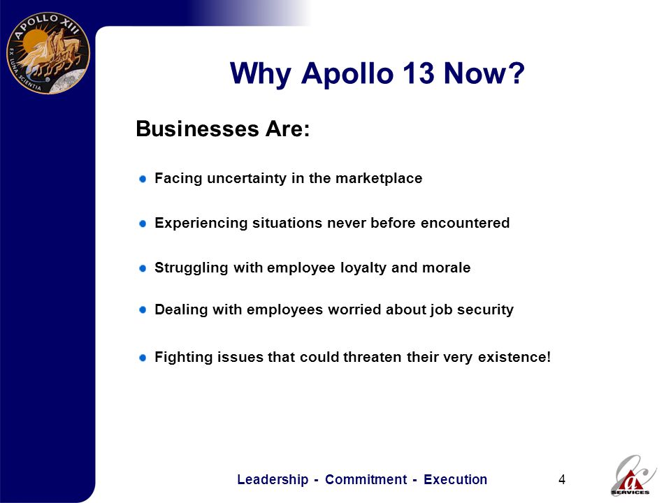 Leadership - Commitment - Execution4 Why Apollo 13 Now.