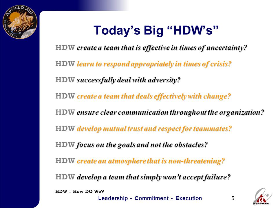 Leadership - Commitment - Execution5 Today's Big HDW's HDW = How DO We.