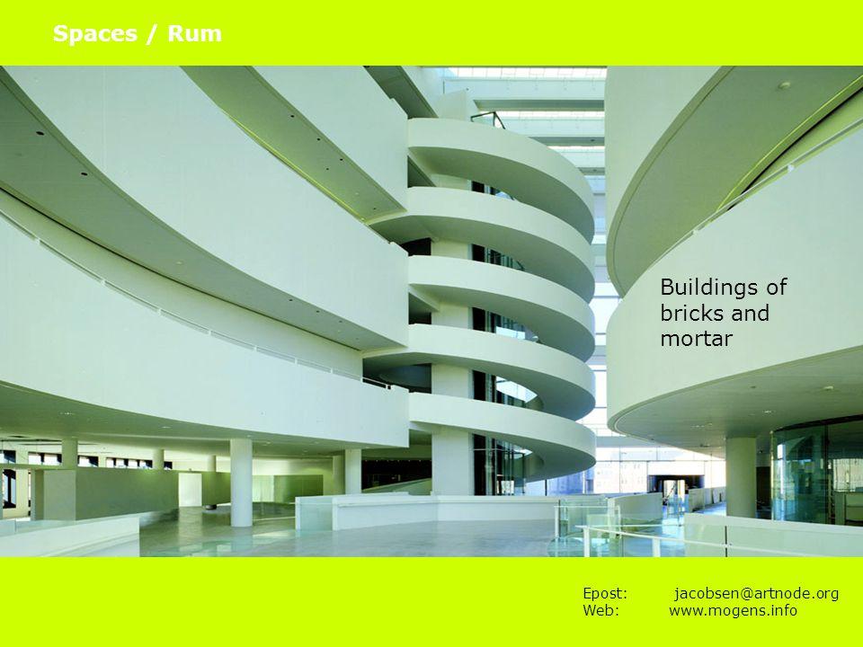 Epost: jacobsen@artnode.org Web:www.mogens.info Spaces / Rum Hørbar Building of bricks, mortar and bits