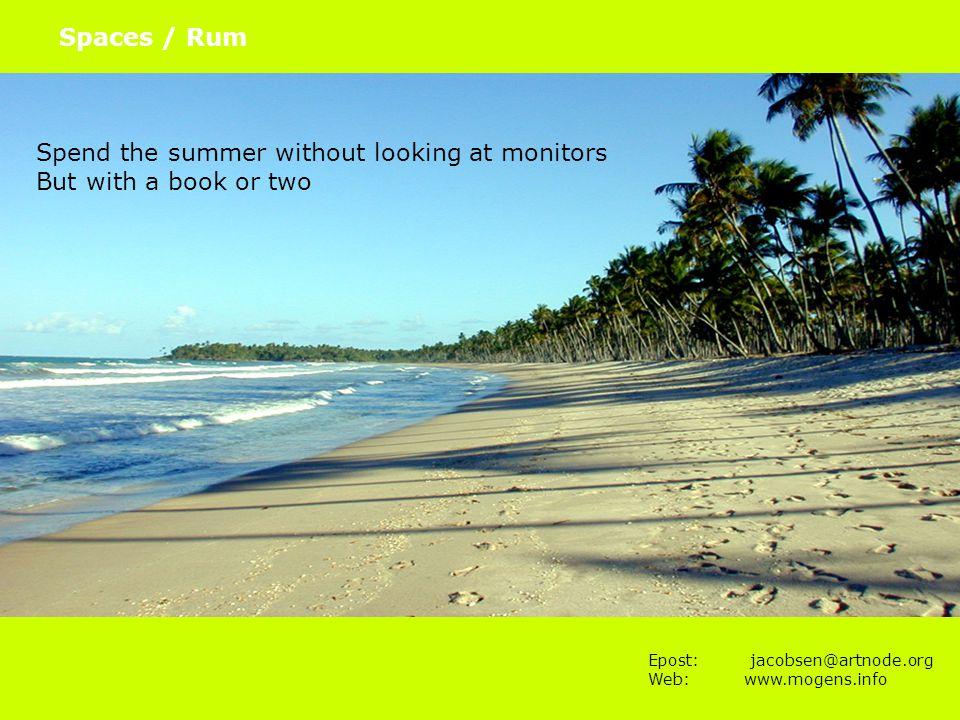 Epost: jacobsen@artnode.org Web:www.mogens.info Spaces / Rum Where the action is Paul Dourish 2004