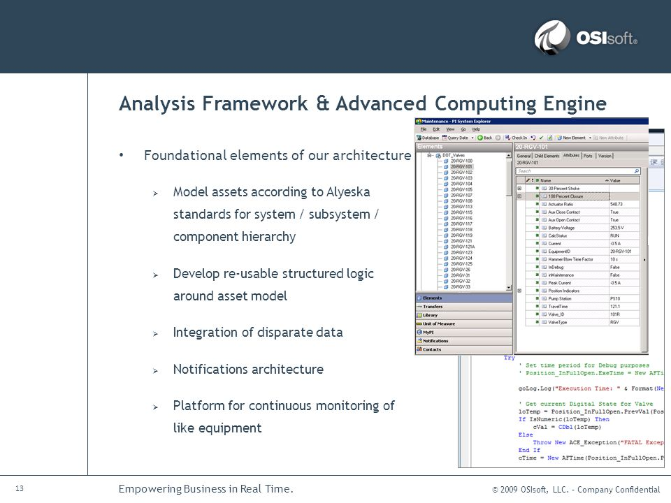 © 2009 OSIsoft, LLC. – Company Confidential 13 Empowering Business in Real Time. Analysis Framework & Advanced Computing Engine Foundational elements
