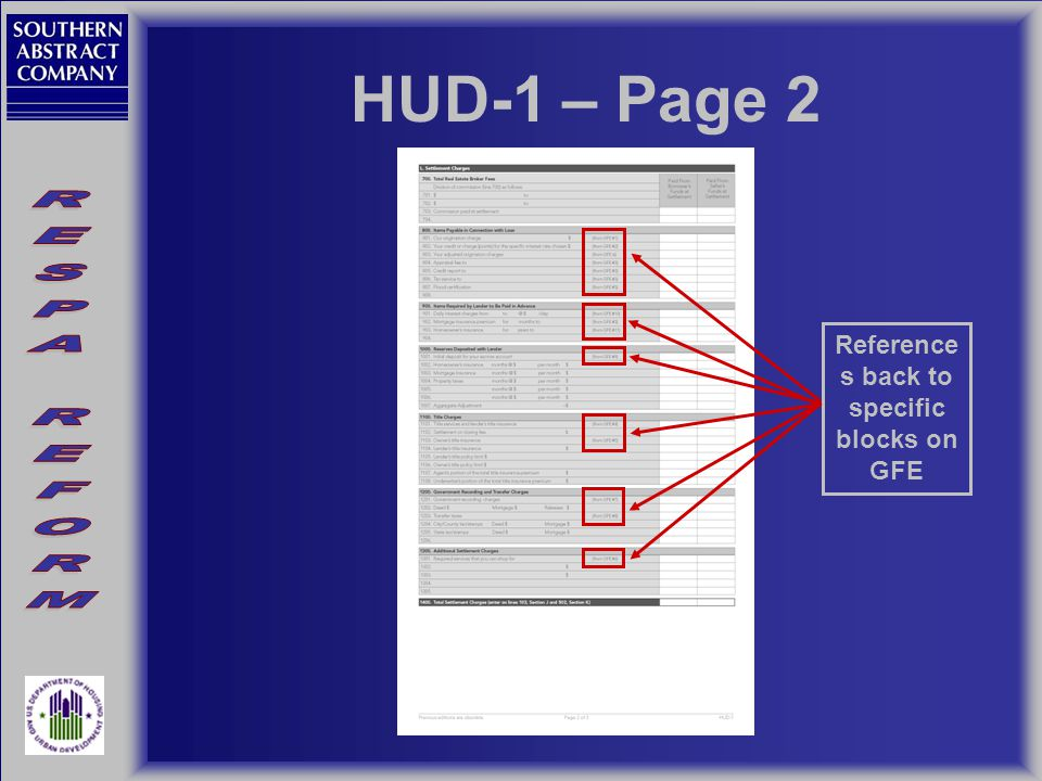 HUD-1 – Page 2 Reference s back to specific blocks on GFE