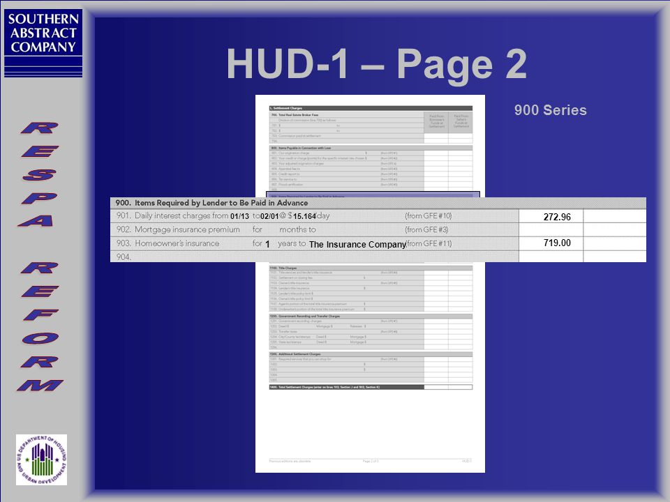 HUD-1 – Page 2 900 Series 01/1302/0115.164 272.96 719.00 The Insurance Company 1