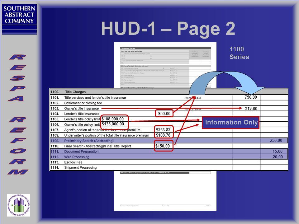 HUD-1 – Page 2 1100 Series $50.00 $108,000.00 $135,000.00 312.60 $253.82 $108.78 250.00 $150.00 15.00 20.00 750.00 Information Only