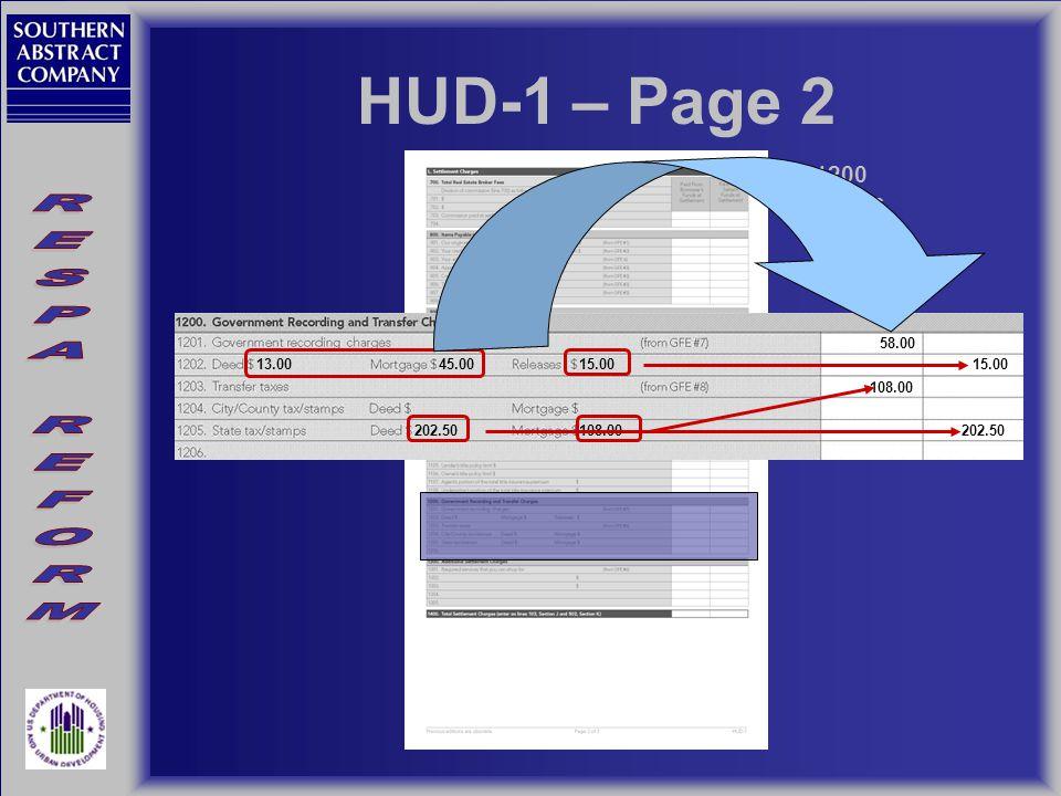 HUD-1 – Page 2 1200 Series 13.00 15.00 45.00 58.00 202.50 108.00202.50 108.00