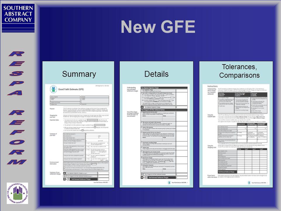 New GFE SummaryDetails Tolerances, Comparisons