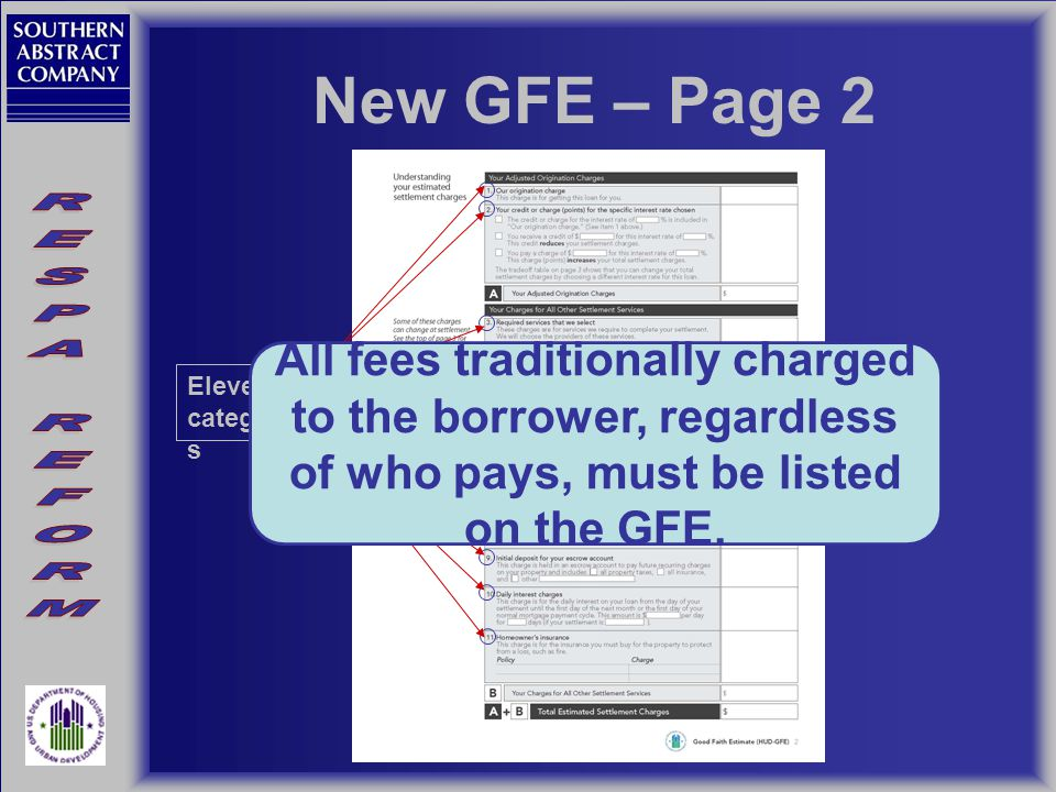 New GFE – Page 2 Eleven categorie s All fees traditionally charged to the borrower, regardless of who pays, must be listed on the GFE.