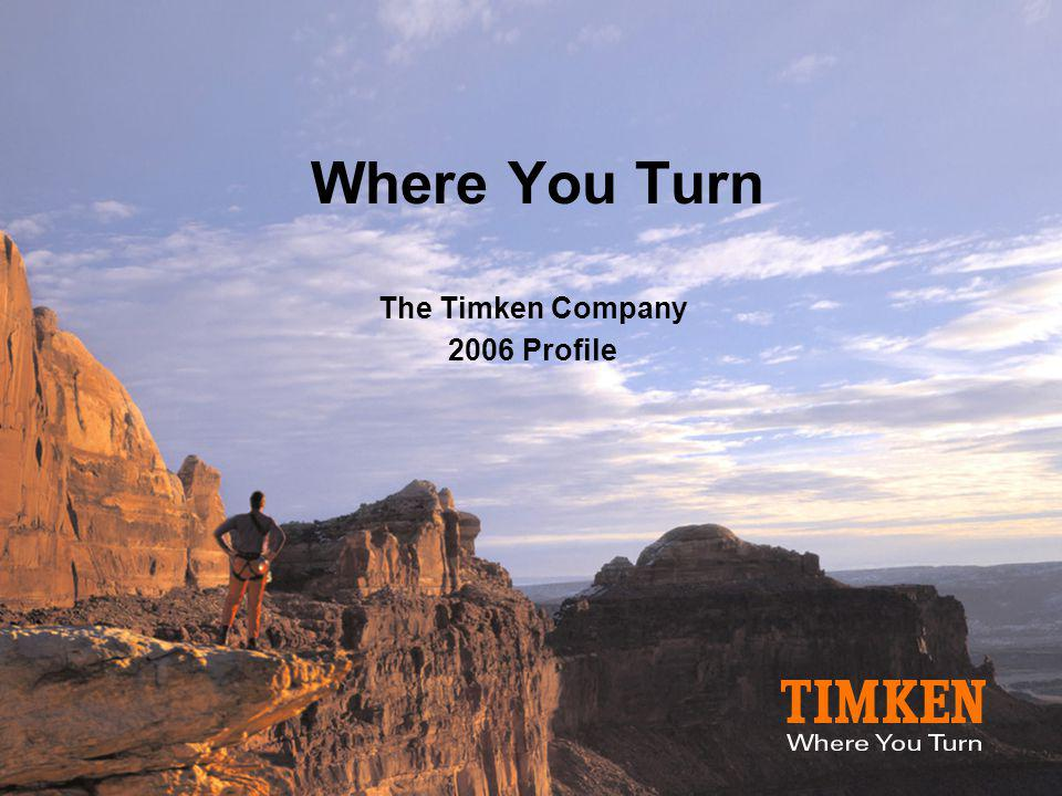 The Timken Company  Industrial technology company  A leading provider of friction management and power transmission solutions to diverse markets, including: –Aerospace, Mining, Energy, Rail, Construction, Truck, Automotive and Distribution  $5.2 billion in sales in 2005  27,000 associates in 27 countries  Global network of 13 technology centers