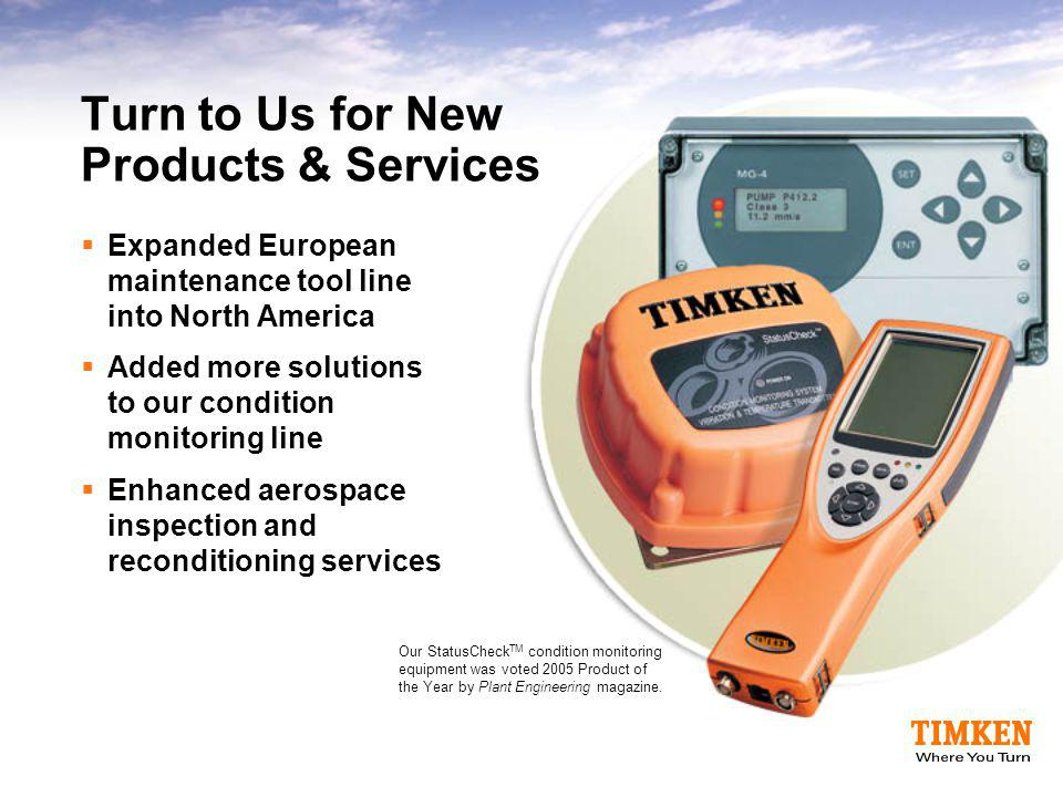 Turn to Us for New Products & Services  Expanded European maintenance tool line into North America  Added more solutions to our condition monitoring