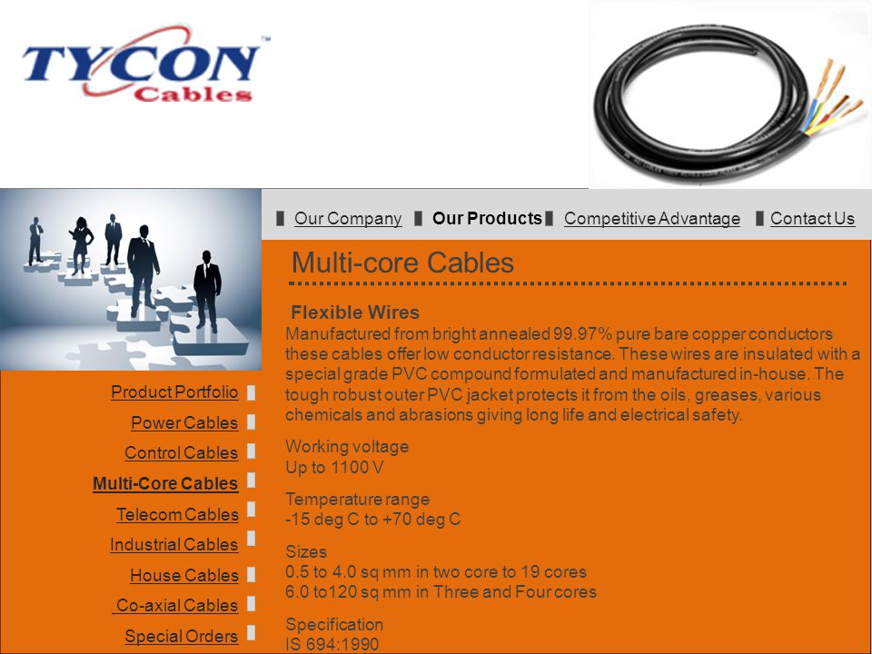 Multi-core Cables Flexible Wires Manufactured from bright annealed 99.97% pure bare copper conductors these cables offer low conductor resistance. The