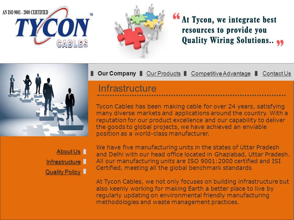 Infrastructure Tycon Cables has been making cable for over 24 years, satisfying many diverse markets and applications around the country. With a reput