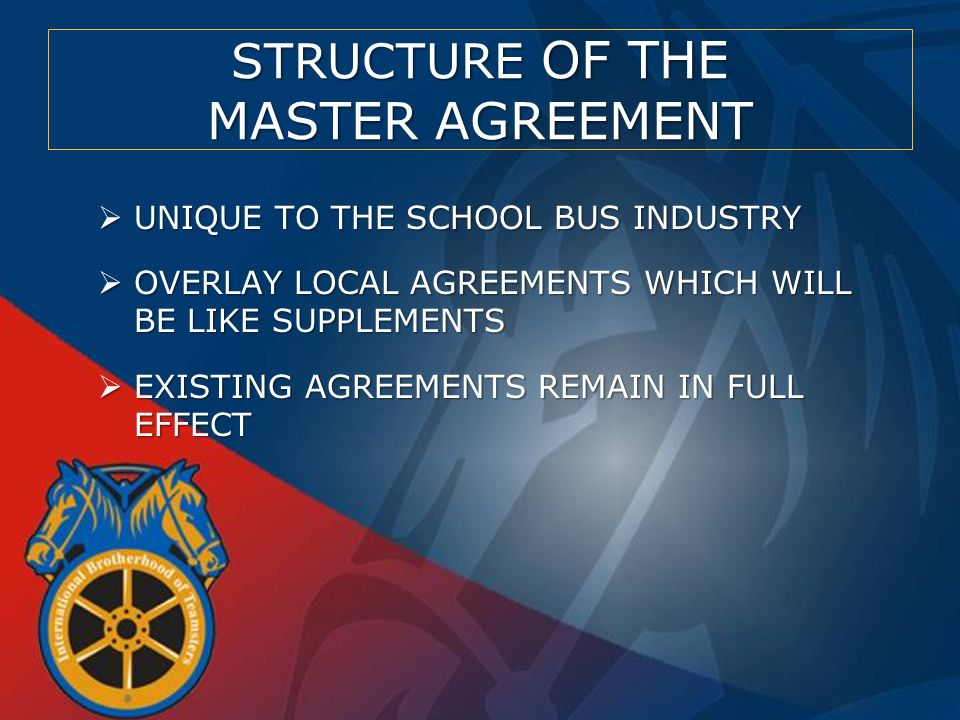 STRUCTURE OF THE MASTER AGREEMENT  ECONOMICS TO BE NEGOTIATED LOCALLY  UNIQUE TERMS AND CONDITIONS TO BE NEGOTIATED LOCALLY