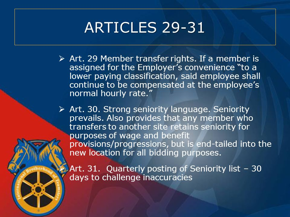 ARTICLES 29-31  Art. 29 Member transfer rights.