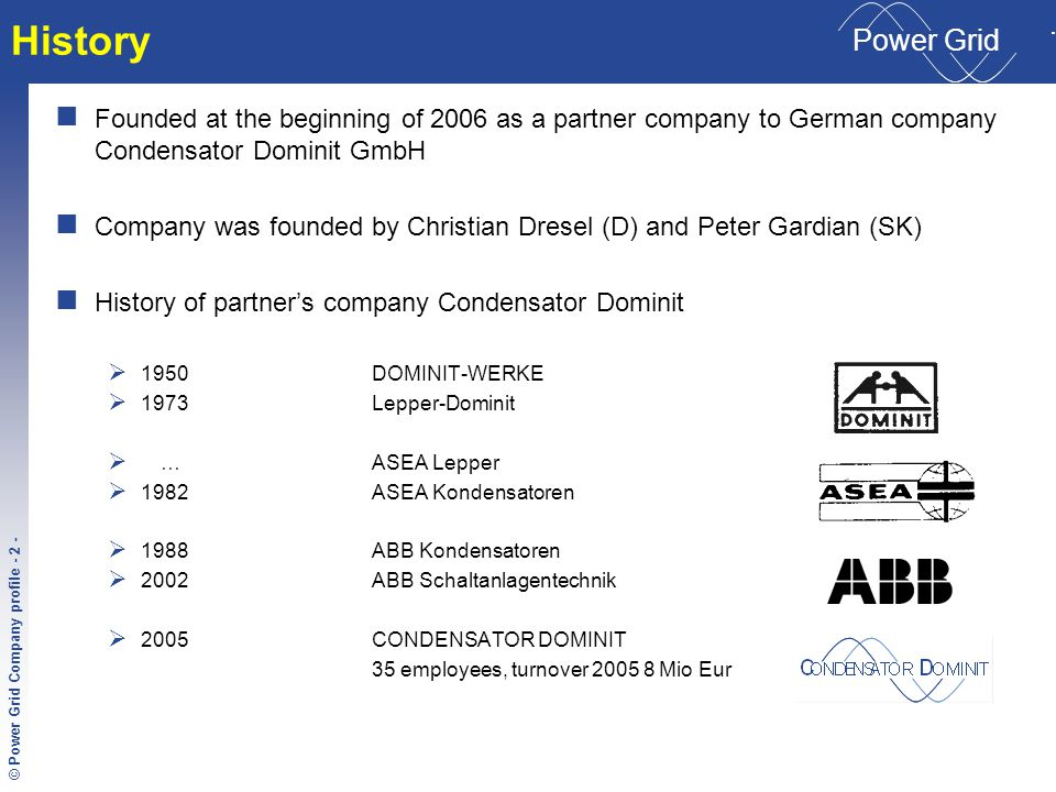 © Condensator Dominit File-Name - 3 - © Power Grid Company profile - 3 - C ONDENSATOR D OMINIT Power Grid Our Competence Import and sale of electrotechnic components according to customer's requirements with focus on power electronic German partner company with a long-term tradition requires support of many different manufacturing and distributive companies.