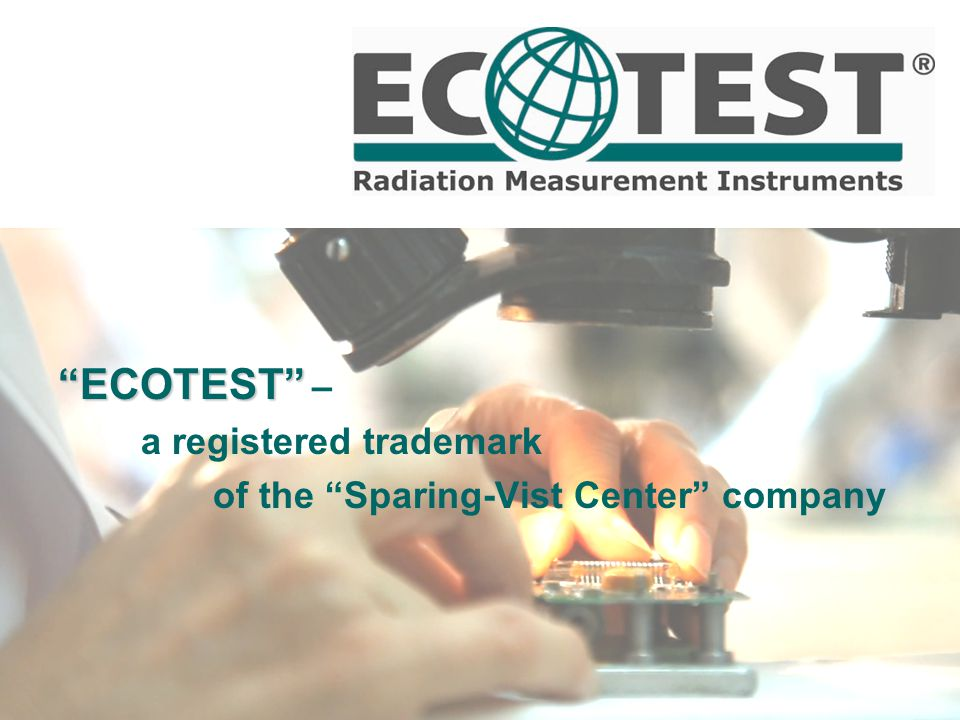ECOTEST ECOTEST – a registered trademark of the Sparing-Vist Center company