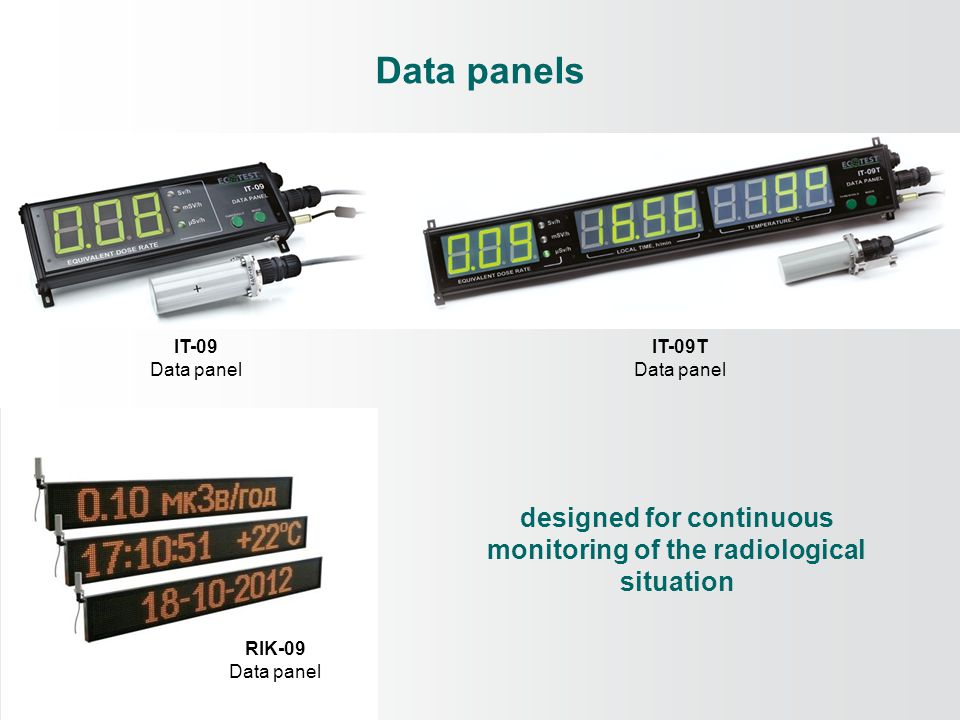 Data panels IT-09 Data panel IT-09Т Data panel designed for continuous monitoring of the radiological situation RIK-09 Data panel