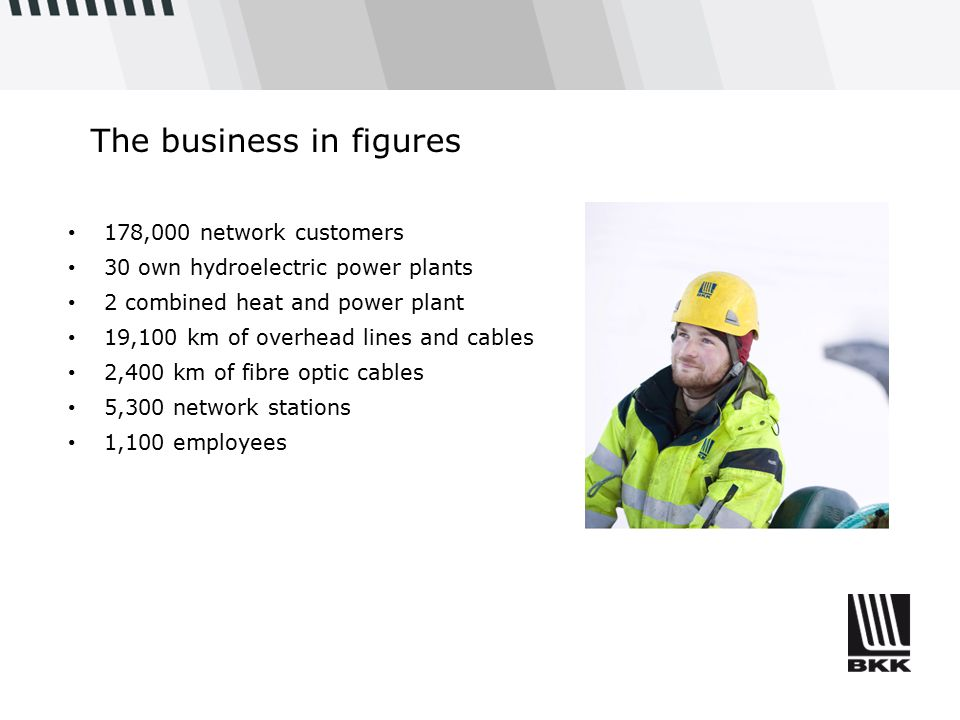 The business in figures 178,000 network customers 30 own hydroelectric power plants 2 combined heat and power plant 19,100 km of overhead lines and cables 2,400 km of fibre optic cables 5,300 network stations 1,100 employees
