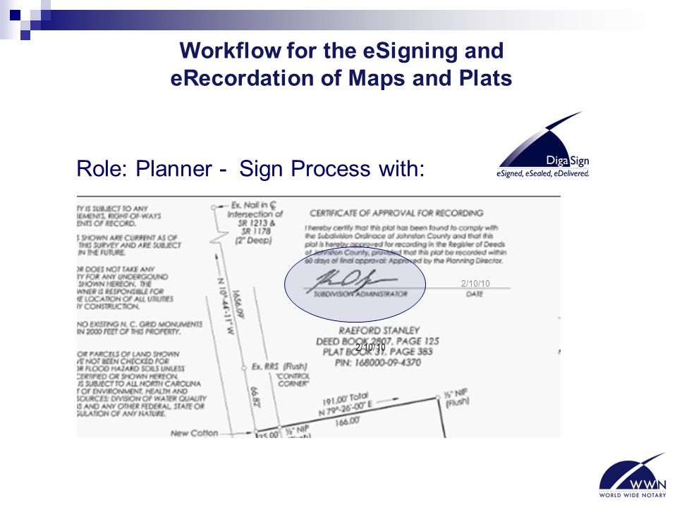 Workflow for the eSigning and eRecordation of Maps and Plats Role: Planner - Sign Process with: 2/10/10
