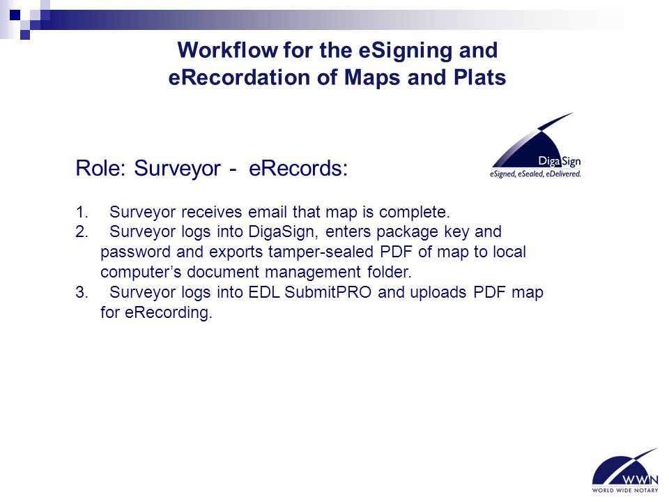 Workflow for the eSigning and eRecordation of Maps and Plats Role: Surveyor - eRecords: 1. Surveyor receives email that map is complete. 2. Surveyor l