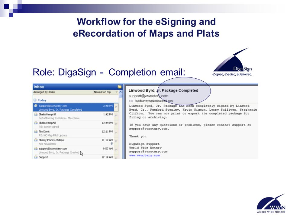 Workflow for the eSigning and eRecordation of Maps and Plats Role: DigaSign - Completion email: