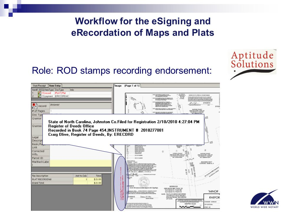Workflow for the eSigning and eRecordation of Maps and Plats Role: ROD stamps recording endorsement: