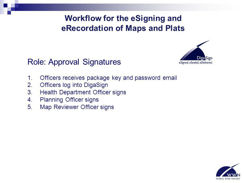 Workflow for the eSigning and eRecordation of Maps and Plats Role: Approval Signatures 1. Officers receives package key and password email 2. Officers