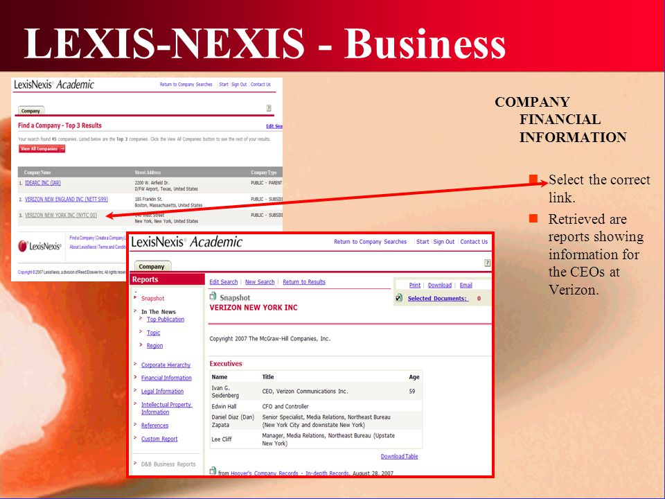 LEXIS-NEXIS - Business COMPANY FINANCIAL INFORMATION Select the correct link.