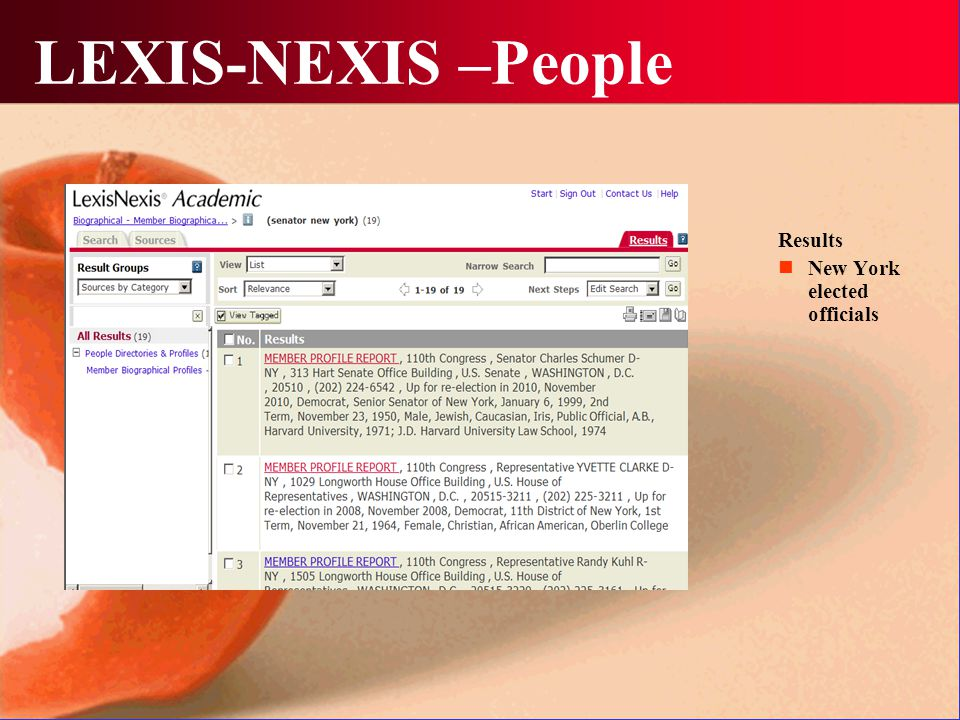 LEXIS-NEXIS –People Results New York elected officials