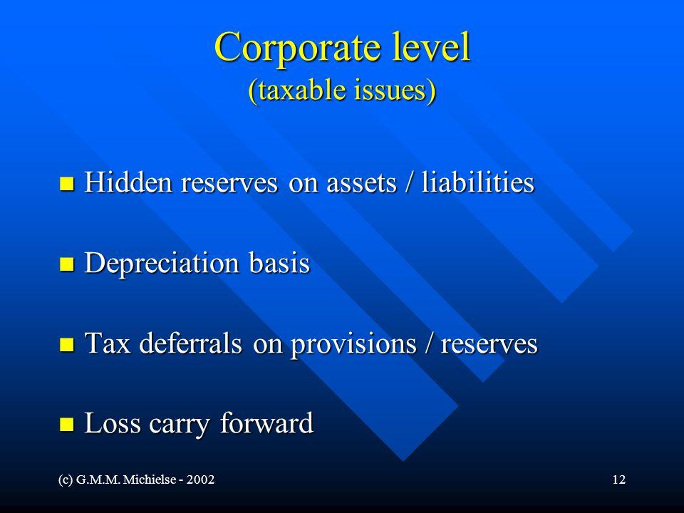 (c) G.M.M. Michielse - 200212 Corporate level (taxable issues) Hidden reserves on assets / liabilities Hidden reserves on assets / liabilities Depreci