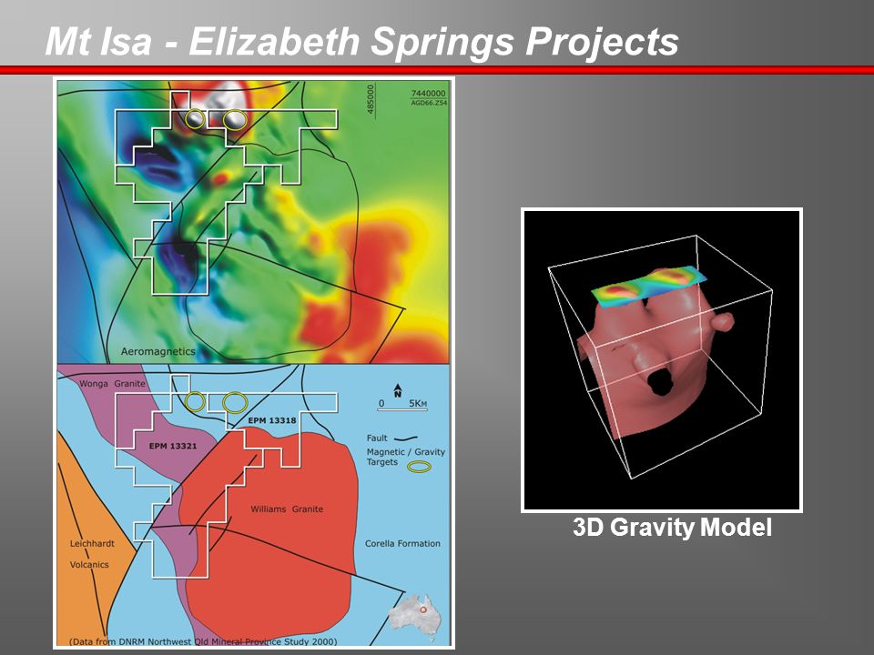 Mt Isa - Elizabeth Springs Projects 3D Gravity Model