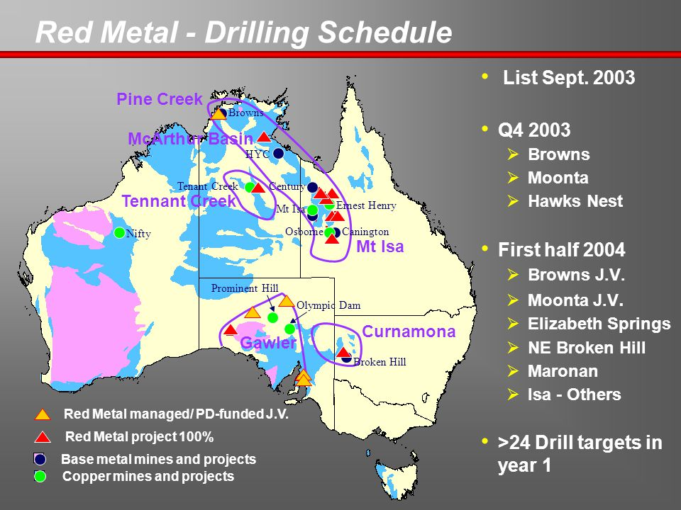 Red Metal - Drilling Schedule Olympic Dam Broken Hill Prominent Hill Mt Isa Ernest Henry Browns HYC Century Nifty Base metal mines and projects Red Metal project 100% CaningtonOsborne Copper mines and projects Red Metal managed/ PD-funded J.V.