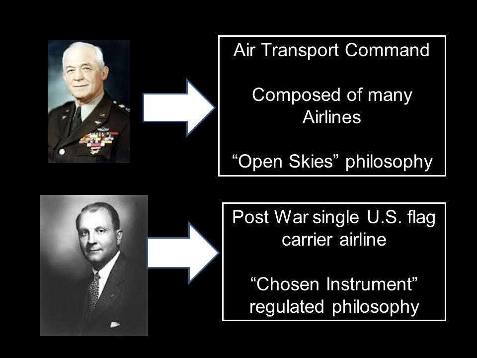 "Air Transport Command Composed of many Airlines ""Open Skies"" philosophy Post War single U.S. flag carrier airline ""Chosen Instrument"" regulated philos"