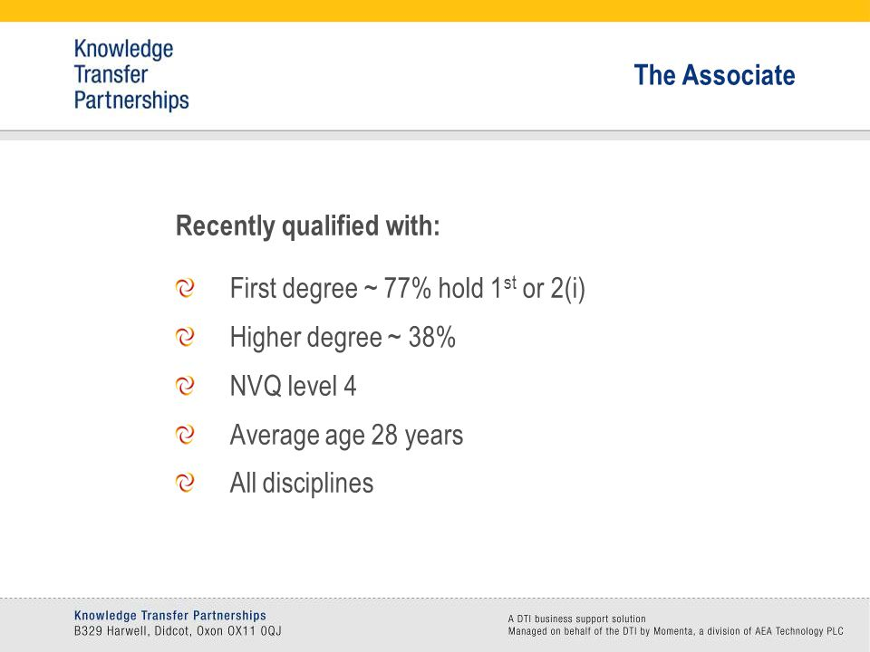 Recently qualified with: First degree ~ 77% hold 1 st or 2(i) Higher degree ~ 38% NVQ level 4 Average age 28 years All disciplines The Associate