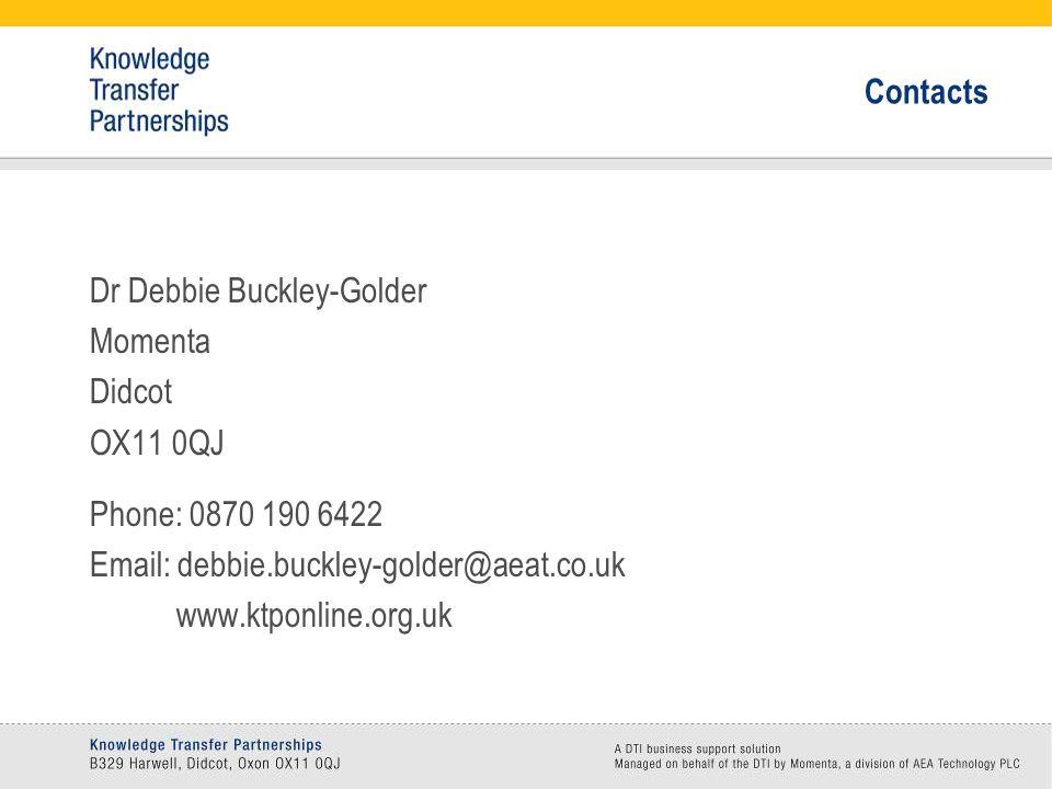 Contacts Dr Debbie Buckley-Golder Momenta Didcot OX11 0QJ Phone: 0870 190 6422 Email: debbie.buckley-golder@aeat.co.uk www.ktponline.org.uk