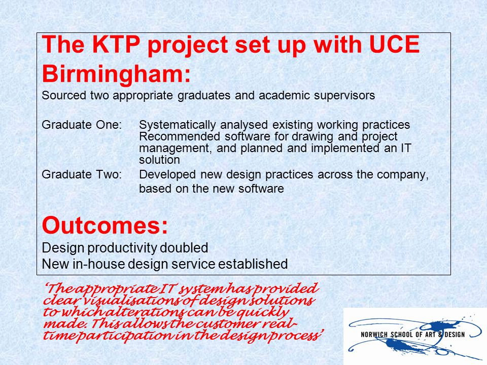 The KTP project set up with UCE Birmingham: Sourced two appropriate graduates and academic supervisors Graduate One: Systematically analysed existing working practices Recommended software for drawing and project management, and planned and implemented an IT solution Graduate Two:Developed new design practices across the company, based on the new software Outcomes: Design productivity doubled New in-house design service established 'The appropriate IT system has provided clear visualisations of design solutions to which alterations can be quickly made.