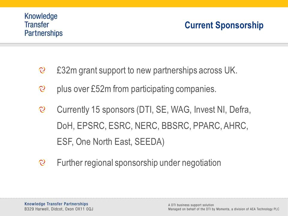 £32m grant support to new partnerships across UK. plus over £52m from participating companies.
