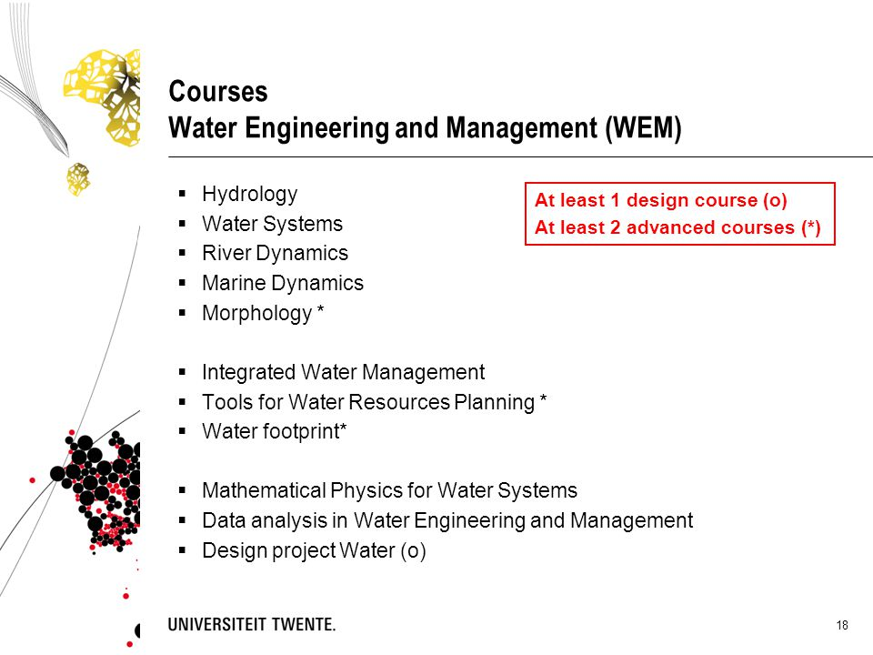 18 Courses Water Engineering and Management (WEM)  Hydrology  Water Systems  River Dynamics  Marine Dynamics  Morphology *  Integrated Water Man