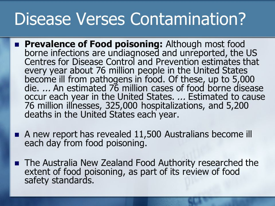Disease Verses Contamination.