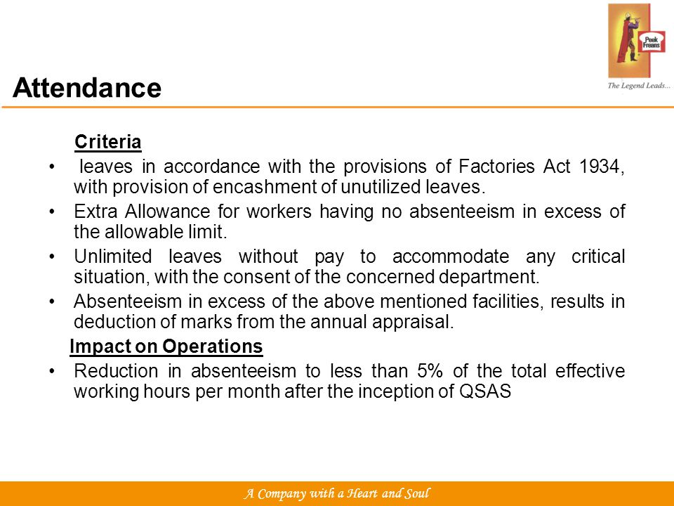 Attendance Criteria leaves in accordance with the provisions of Factories Act 1934, with provision of encashment of unutilized leaves.