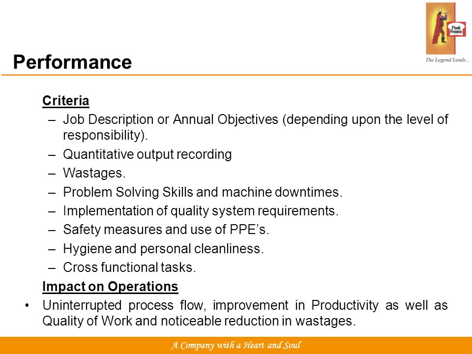 Performance Criteria –Job Description or Annual Objectives (depending upon the level of responsibility).