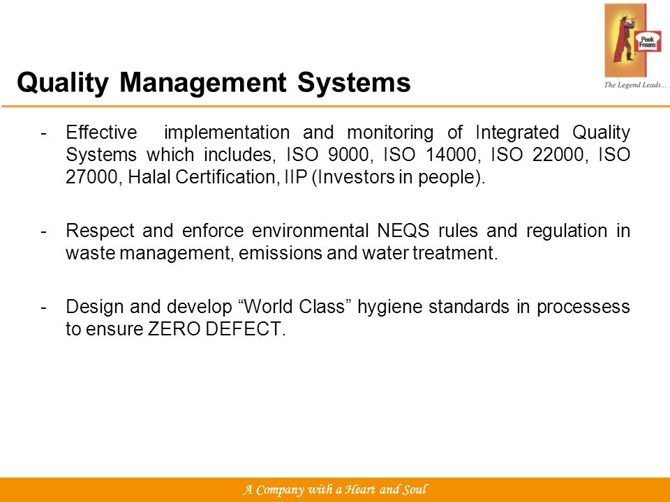 Quality Management Systems -Effective implementation and monitoring of Integrated Quality Systems which includes, ISO 9000, ISO 14000, ISO 22000, ISO