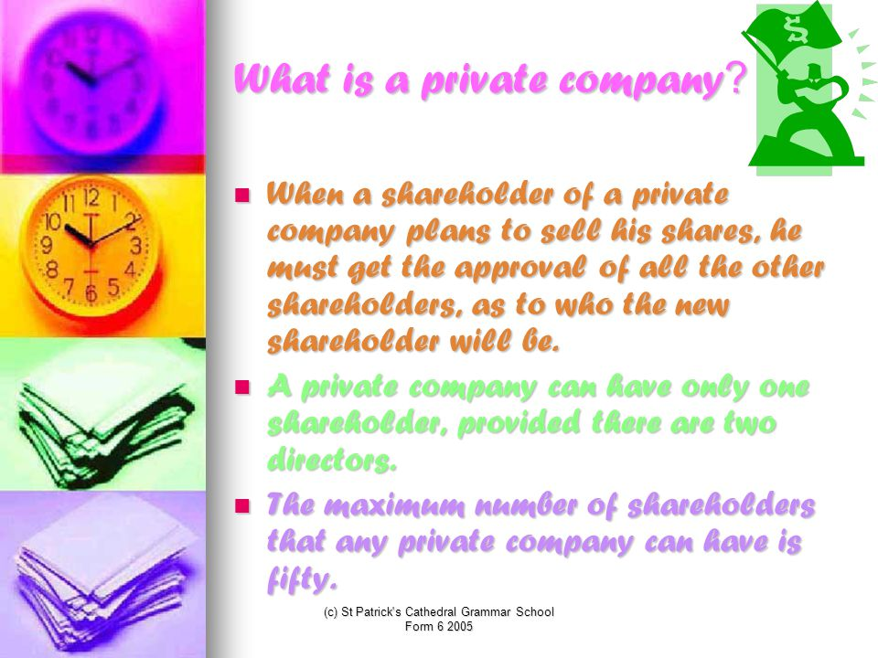 (c) St Patrick s Cathedral Grammar School Form 6 2005 What is a private company.