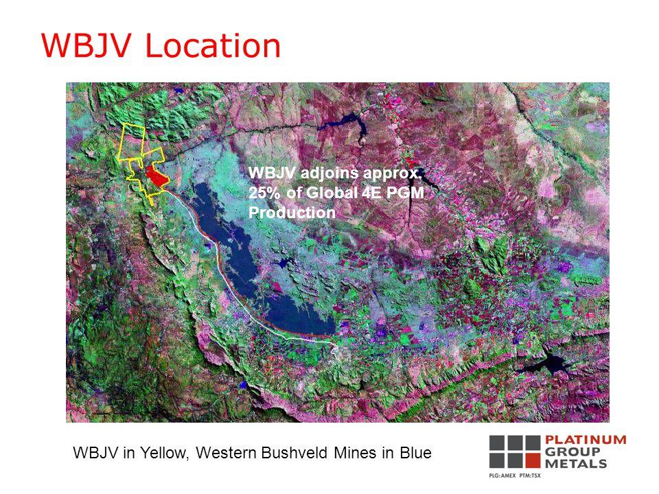 WBJV Location WBJV in Yellow, Western Bushveld Mines in Blue WBJV adjoins approx.