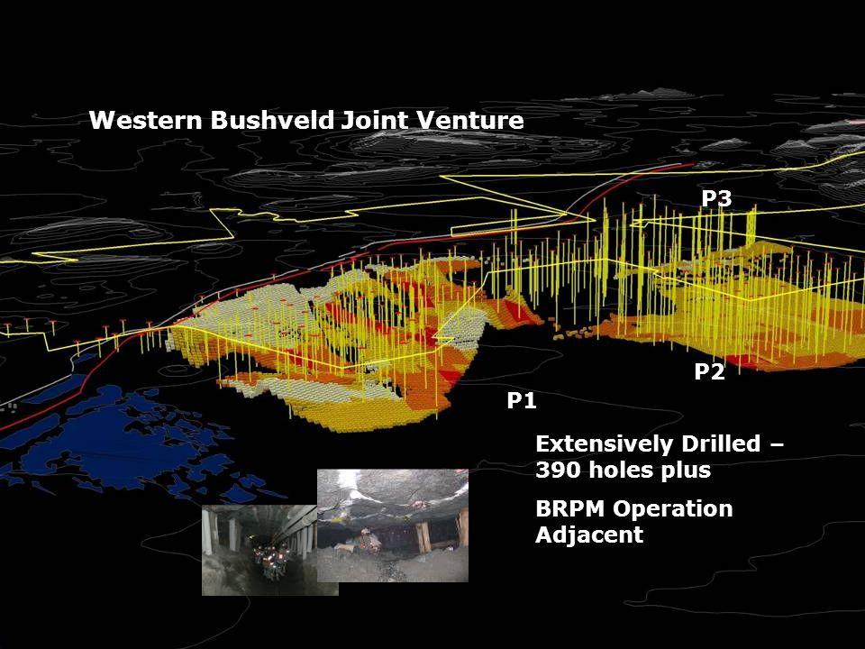 P1 P2 P3 Extensively Drilled – 390 holes plus BRPM Operation Adjacent Western Bushveld Joint Venture