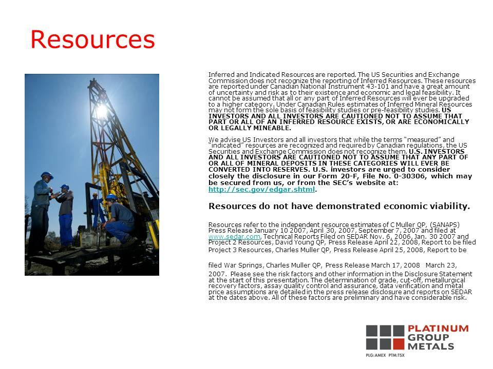 Resources Inferred and Indicated Resources are reported.