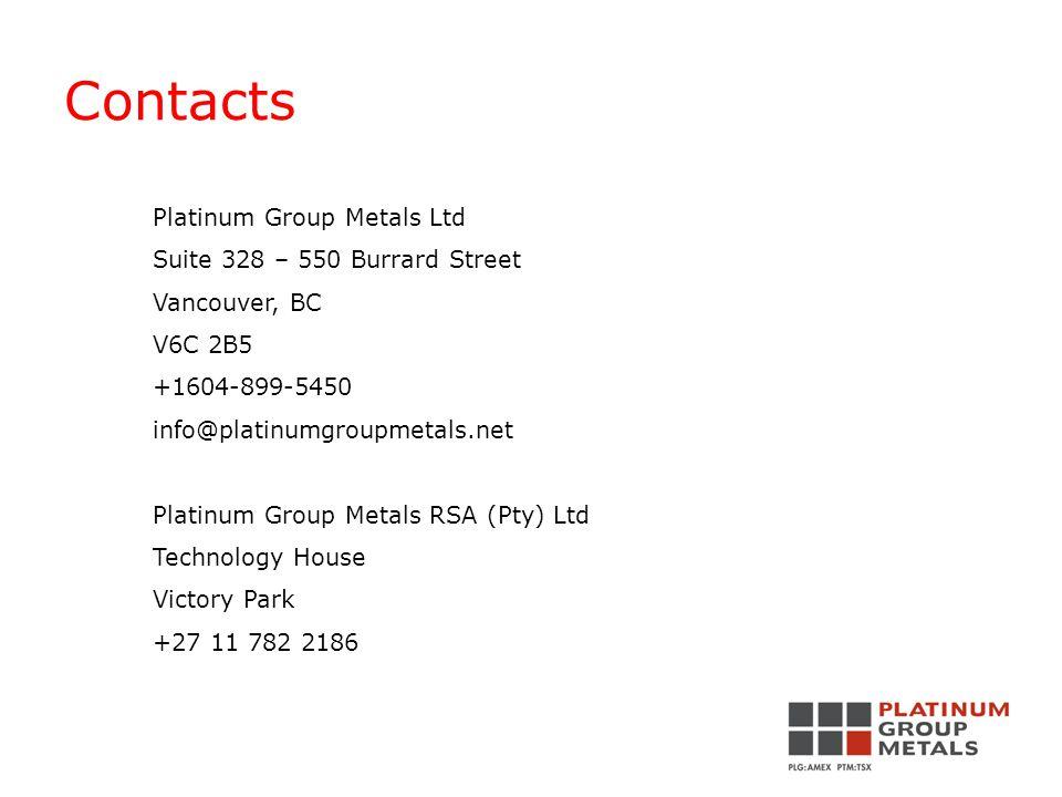 Contacts Platinum Group Metals Ltd Suite 328 – 550 Burrard Street Vancouver, BC V6C 2B5 +1604-899-5450 info@platinumgroupmetals.net Platinum Group Metals RSA (Pty) Ltd Technology House Victory Park +27 11 782 2186