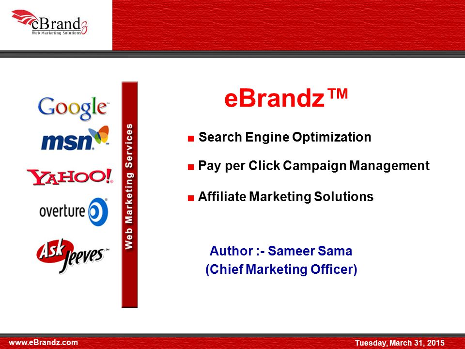  eBrandz is an online marketing solutions agency, which is considered one of the best Search Engine Optimization companies in the world.**  With more than 4 years of experience, eBrandz services are not only sold to end users, but even Marketing Agencies and other SEO companies who rebrand our service and sell it to local clients in New York, Chicago, Baltimore, Boston, Houston, Los Angeles, San Diego in United States.