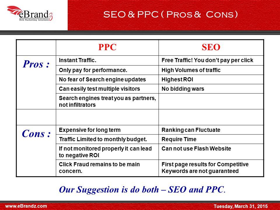 www.eBrandz.com SEO & PPC ( Pros & Cons ) PPCSEO Pros : Instant Traffic.Free Traffic.