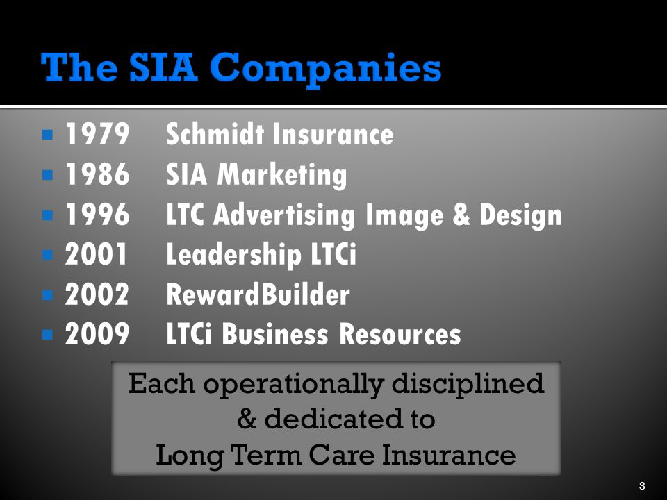  1979 Schmidt Insurance  1986SIA Marketing  1996LTC Advertising Image & Design  2001Leadership LTCi  2002RewardBuilder  2009LTCi Business Resources Each operationally disciplined & dedicated to Long Term Care Insurance 3