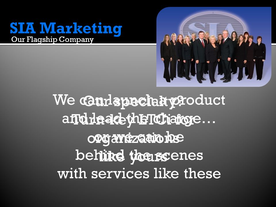 SIA Service Package Supply Fulfillment Custom LTCi Website Alternatives for Declines Quote Requests AppGard SIA's Flagship Company Each SIA Service you choose for your Service Package….